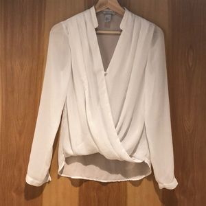 H&M - White Long Sleeved Wrap Blouse